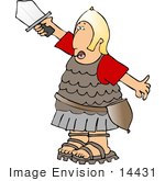 #14431 Roman Soldier In Uniform Holding Up A Sword Clipart