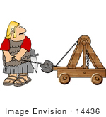 #14436 Roman Soldier Launching A Rock With A Catapult Clipart