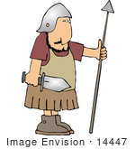 #14447 Male Soldier With A Sword And Spear Clipart