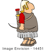 #14451 Archer Roman Soldier With A Bow And Arrow Clipart