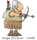 #14455 Archer Soldier With A Bow And Arrow Clipart