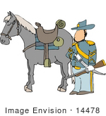 #14478 Civil War Calvary Officer With Horse Sword And Rifle Clipart