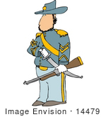 #14479 Civil War Calvary Officer Soldier With A Sword And Rifle Clipart