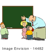 #14482 Teacher Involving Students In A Lesson At A Chalkboard Clipart