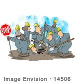 #14506 Group Of Road Construction Workers Hard At Work On A Street Clipart