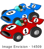 #14509 Two Men Racing Cars Clipart