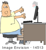 #14513 Caucasian Man In Front Of A Smoking Computer Clipart