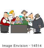 #14514 People Drinking Alcohol And Playing Cards In A Casino Clipart