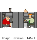 #14521 Four People Working In Cubicles At An Office Clipart