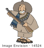 #14524 Mexican Bandito With A Rifle Clipart