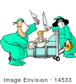 #14533 Caucasian Man Terrified As He Watches His Surgeons Hold Knives And Saws Clipart