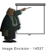 #14537 Middle Aged Caucasian Business Man At A Blank Screen During A Slideshow Presentation Clipart