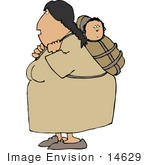 #14629 Native American Indian Mother Woman With Her Baby Papoose Clipart