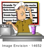 #14652 Man With Nose And Ear Piercings Working At A Fast Food Restaurant Clipart
