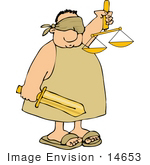 #14653 Injustice Blindfolded Man Holding A Sword And Scales Of Justice Clipart