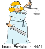 #14654 Lady Justice Blindfolded Woman Holding A Sword And Scales Clipart