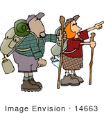 #14663 African American Man And Caucasian Woman Hiking Clipart