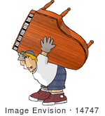 #14747 Piano Moving Man Carrying A Grand Piano Clipart