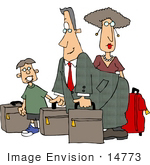#14773 Caucasian Family Traveling With Luggage Clipart