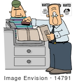 #14791 Postal Clerk Man Assisting A Wanted Criminal Clipart