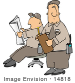 #14818 Two Caucasian Guard Men At Work Clipart