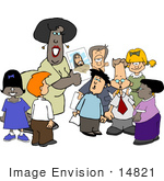 #14821 Teacher Showing Students A Picture Of Jesus In Sunday School Clipart