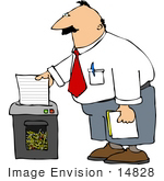 #14828 Business Man Shredding Documents Clipart