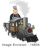 #14834 Train Engineer Man On A Train Clipart