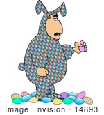 #14893 Man In A Patterned Easter Bunny Costume Clipart
