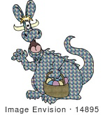 #14895 Dragon Dressed As The Easter Bunny Clipart