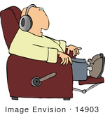 #14903 Man Wearing Headphones Sitting In A Lazy Chair Clipart