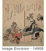 #14909 Photo Of Two Geisha Women And A Child At A Tea Party
