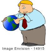 #14915 Blond Caucasian Business Man Holding A Globe Clipart