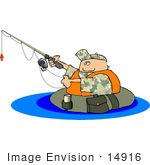 #14916 Man Fishing While Floating In A Tube Clipart