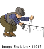 #14917 Man Untangling Fishing Wire Clipart