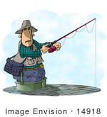 #14918 Man Wading While Fishing Clipart