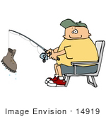 #14919 Fishing Man With A Boot As Catch Clipart