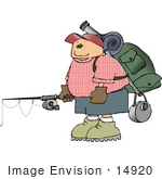 #14920 Man With Camping Gear And A Fishing Rod Clipart
