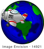 #14921 Airplane Flying Around The Earth Clipart