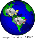 #14922 Airplanes Flying Over The Earth Clipart