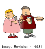 #14934 Boy And Girl With Popsickles Soda And A Hamburger Clipart