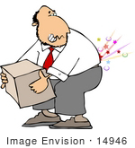 #14946 Man Lifting A Heavy Box And Hurting His Back Clipart