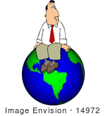 #14972 Successful Business Man Sitting On Top Of The World Clipart