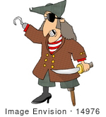 #14976 Pirate With An Eye Patch Hook And Pegleg Clipart