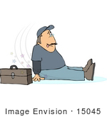 #15045 Man After Slipping Injured On The Job Clipart