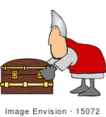 #15072 Soldier Bending Over A Treasure Chest Clipart