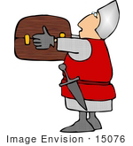 #15076 Soldier Carrying A Treasure Chest Clipart