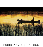 #15661 Picture Of Person And Dog Canoeing Through Wetlands Under An Orange Sunset