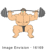 #16169 Weightlifter Man Performing A Front Squat With A Heavy Barbell Clipart