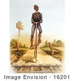 #16201 Picture Of An African American Man Riding A Penny Farthing Bike